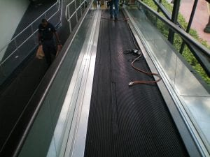 Conveyor belt on escalator people mover carcass