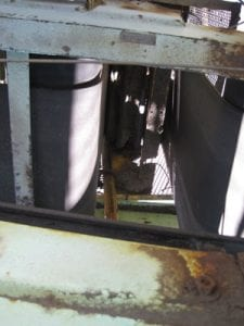 Closeup of conveyor system components