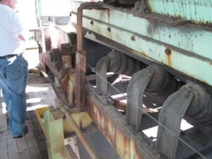 Exterior rusted conveyor system components