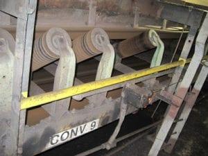 Closeup of conveyor system components
