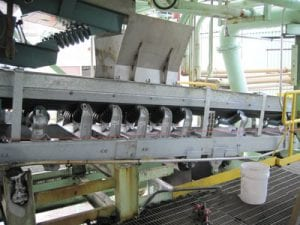 New stainless steel conveyor system with galvanized trough frames and Stevens Adamson components and vibratory hoppers
