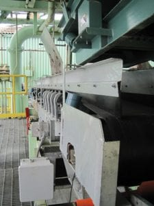 Side view of conveyor system