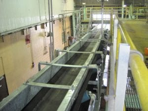 Top view of new stainless steel conveyor system