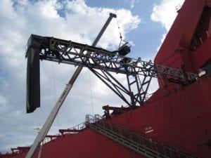 Davis Industrial installing new conveyor belt on the Sophie Olendorff