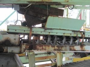 Close up of old rusted conveyor system before it was demolished