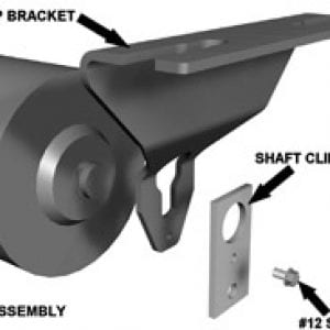 Diagram of parts needed for conveyor system idler, consisting of roll assembly, drop bracket, shaft clip and #12 screw