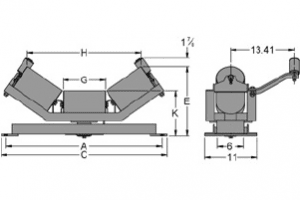 Diagram of self-aligning troughing idlers