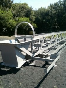 Custom built box truss conveyor, coated in special epoxy and stainless steel conveyor covers, fabricated and assembled by Davis Industrial