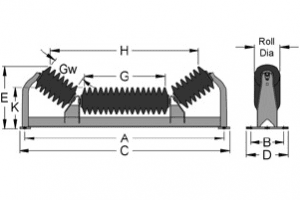 Diagram of unequal impact troughing idlers