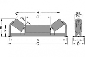 Diagram of unequal troughing idlers